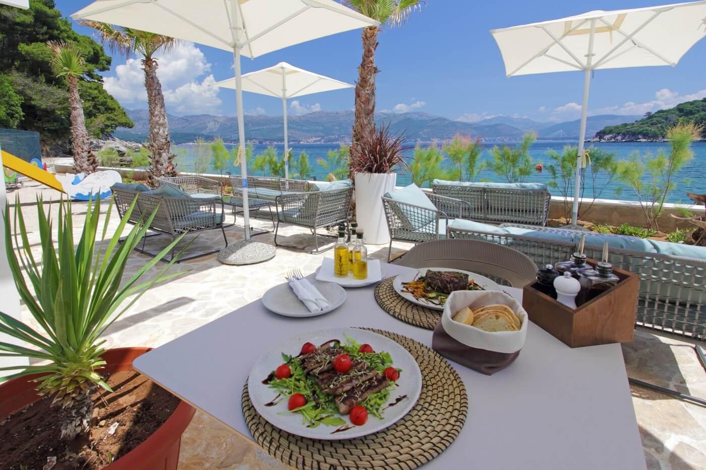 Seaside restaurant terrace on Kolocep Island